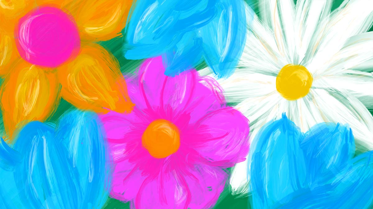 April showers bring May (fundraising ideas and) flowers. A colorful painting of a half dozen different blossoms.