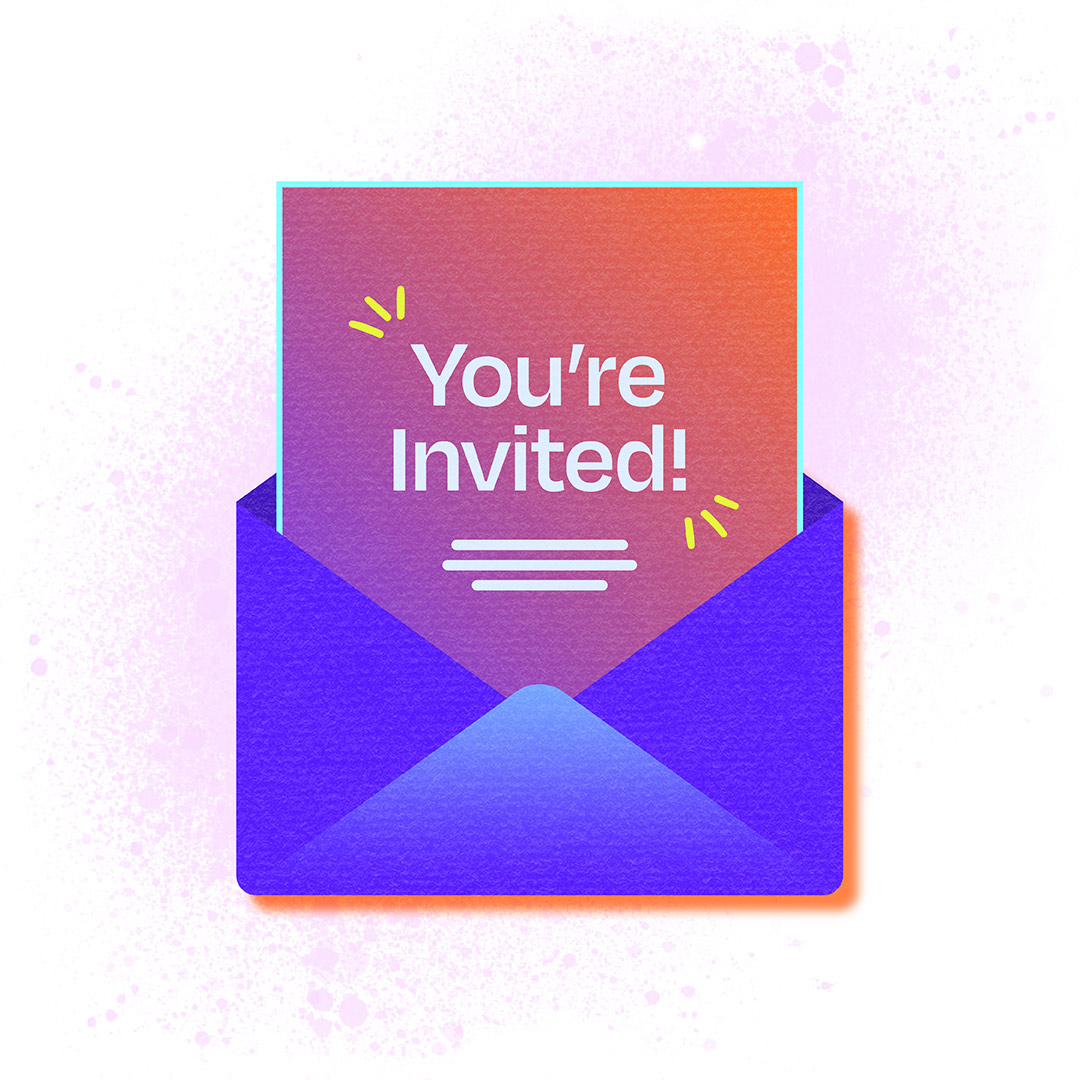 An envelope unfolds with a note that says 'You're Invited!'