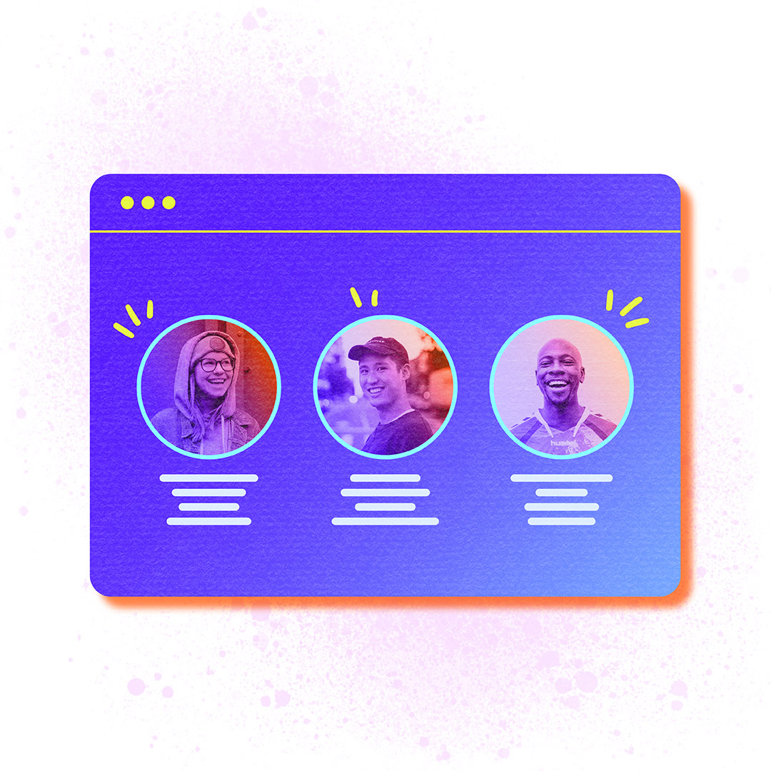 Three donors profile pictures float in a web browser window as if inside a CRM.>