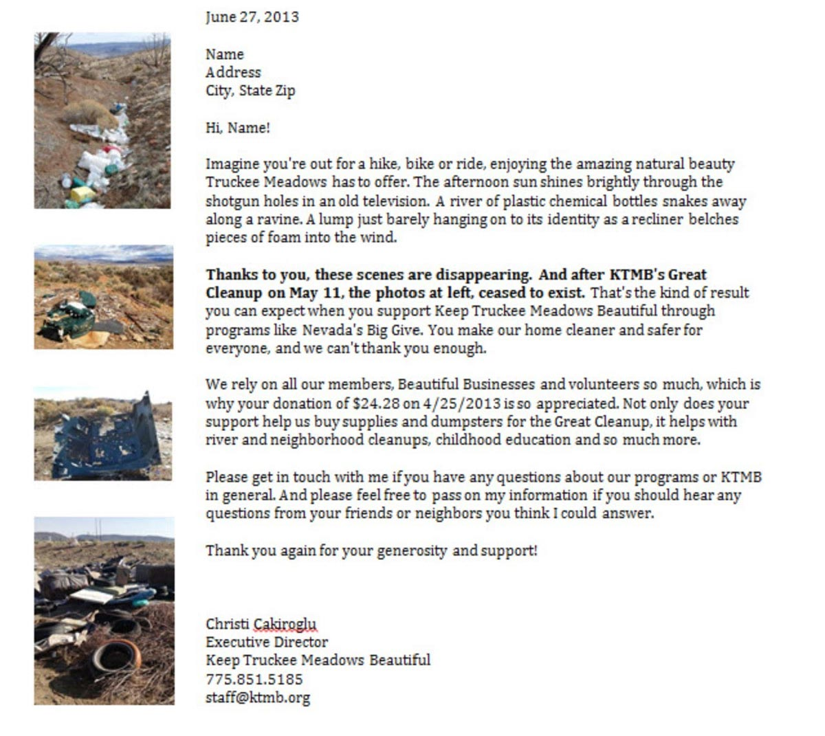 Keep Truckee Beautiful thank you email example