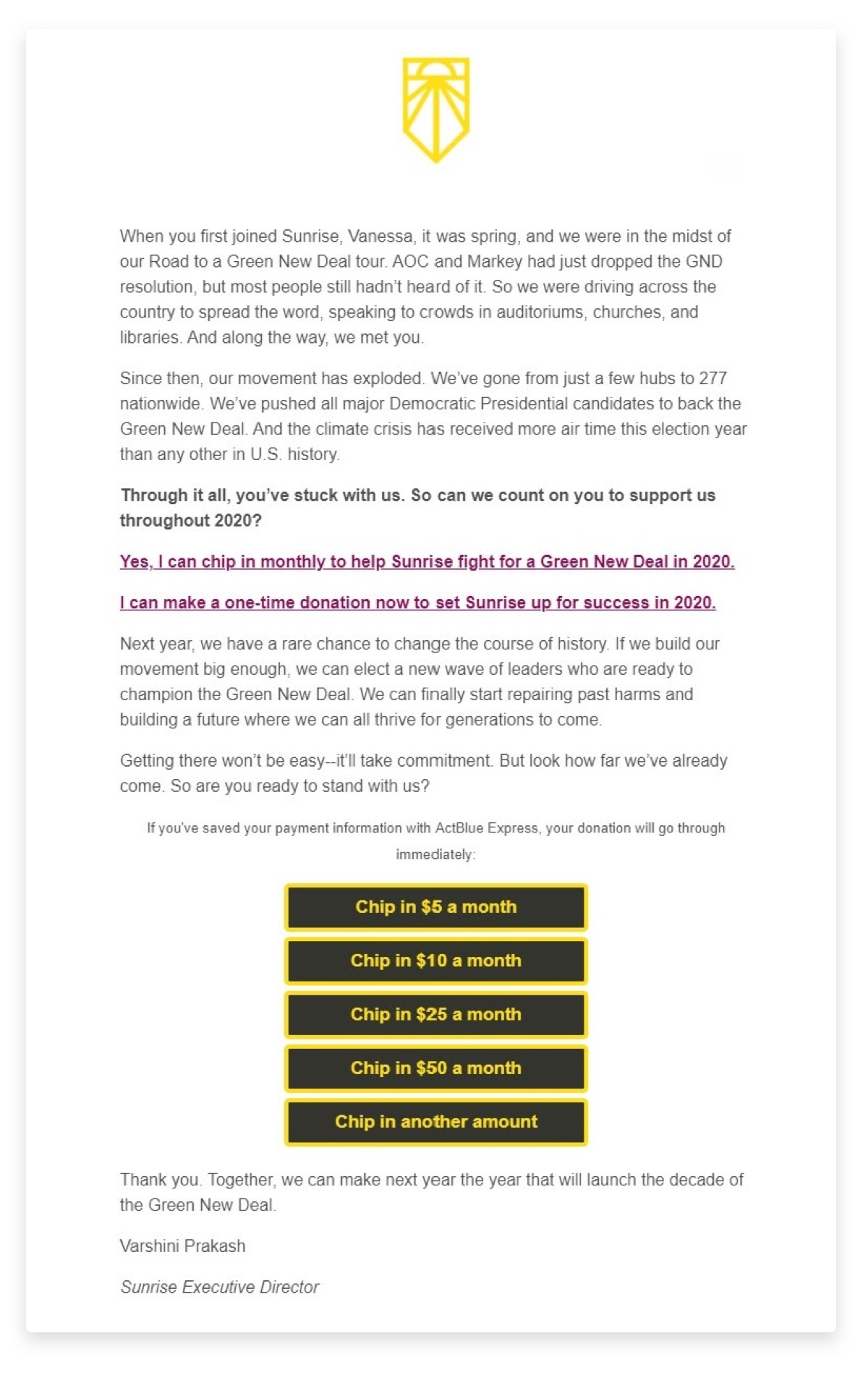 "A screenshot image of an email from Sunrise Movement that has 5 ""chip in"" donation buttons"