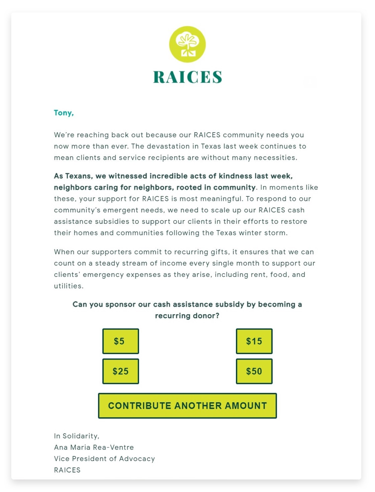 RAICES email with a donation form that has 5 buttons