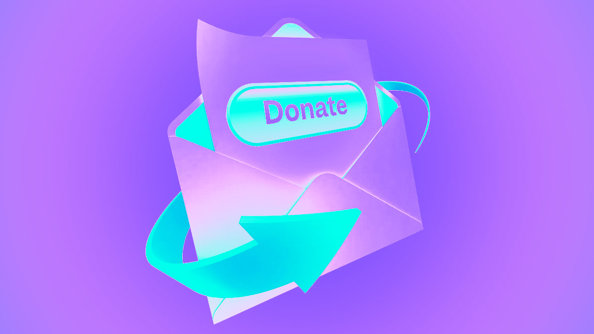 A 3D email icon comes blasting back from the 90's past to offer a shiny donation button in your inbox!