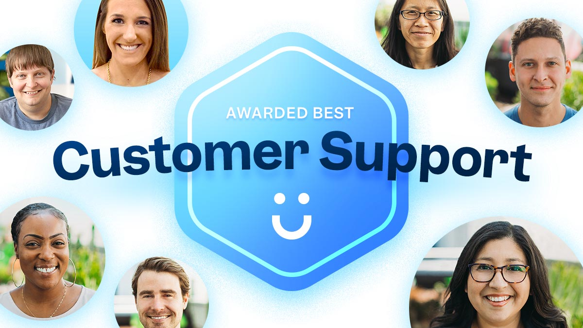 A large badge reads 'Awarded Best Customer Support'. Surrounding it are the happy faces of the Funraise customer success teams, ready to help your nonprofit.