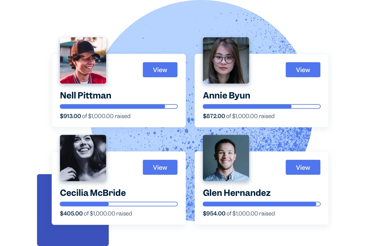 Four peer-to-peer fundraisers' profile photos are displayed along with progress bars showing how much they've each fundraised for your nonprofit.