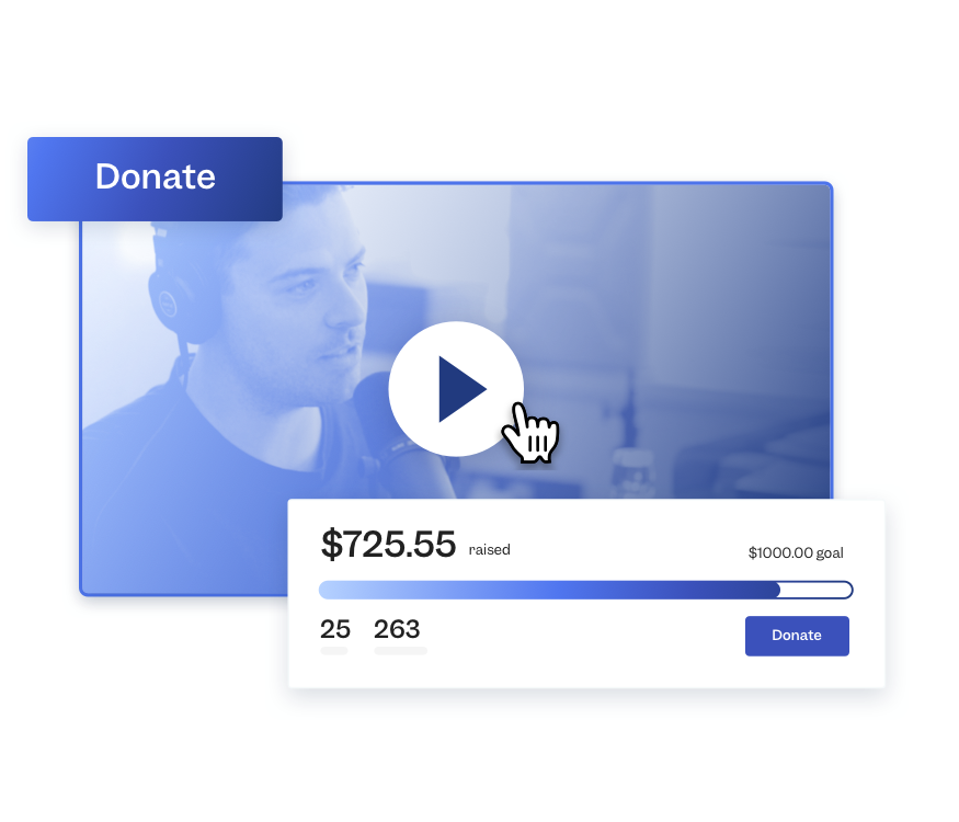 A video player is surrounded by the elements of a nonprofit fundraising event—a progress bar and a donate button.