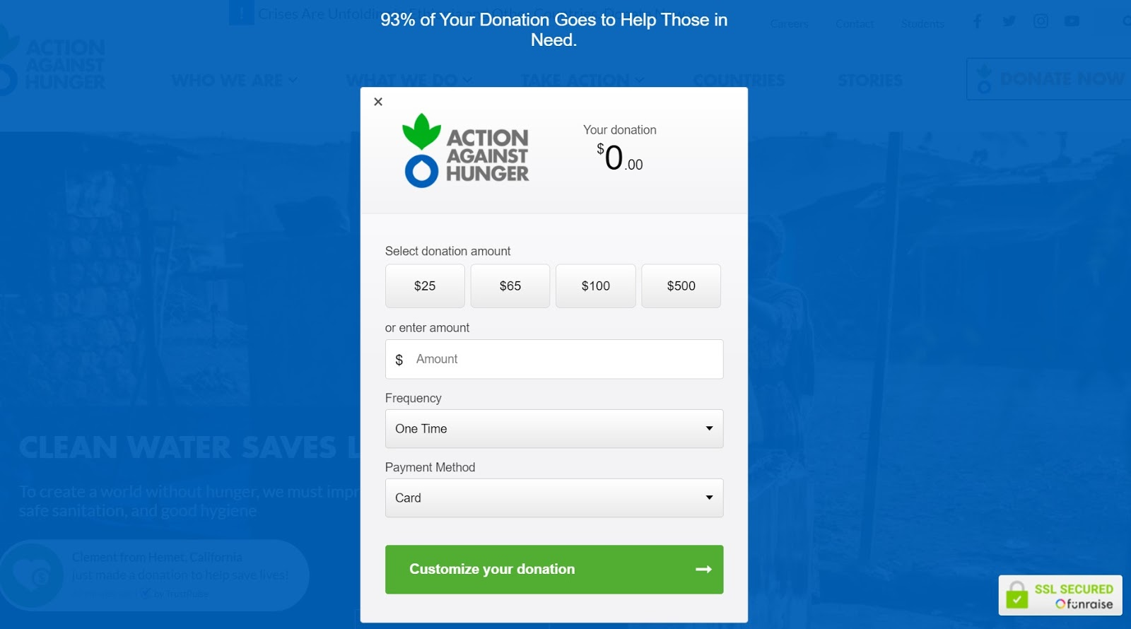 Action Against Hunger's donation form on a blue background.