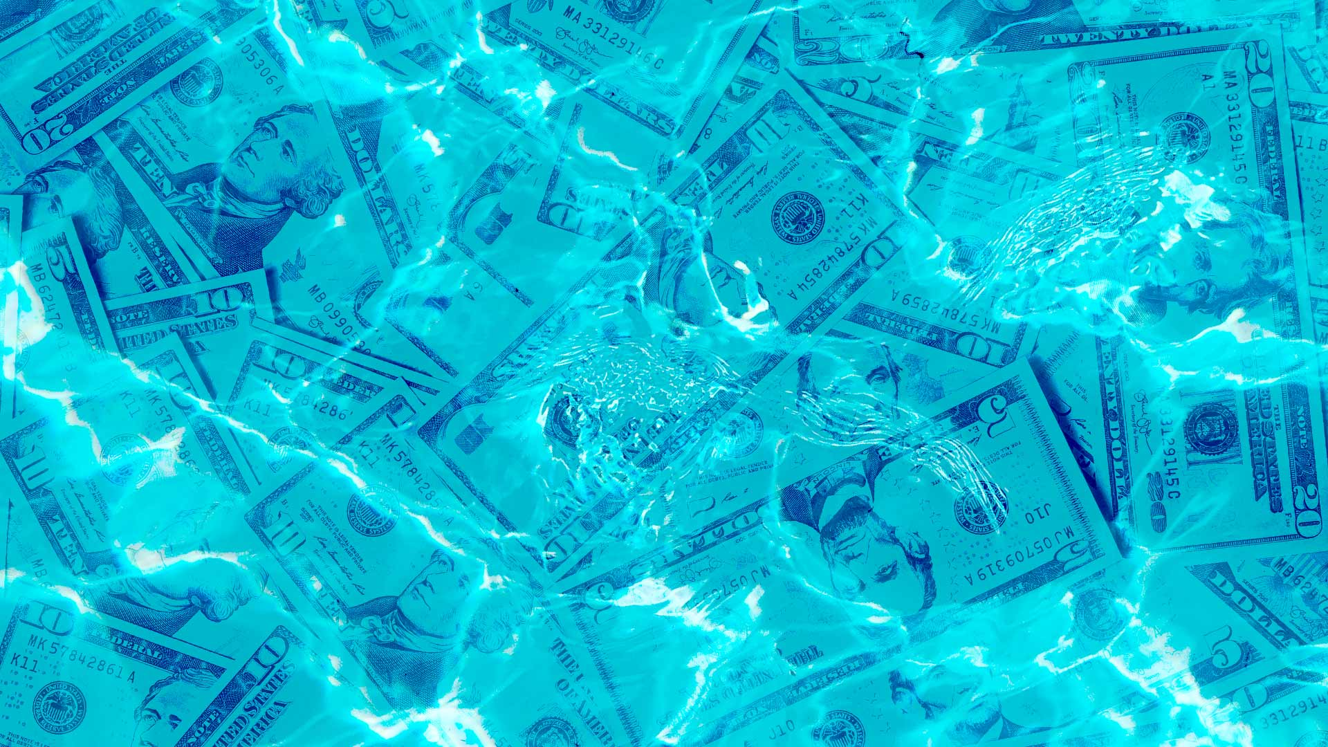 Stacks of US currency float underneath the surface of a shiny blue swimming pool, with a splash in the middle.
