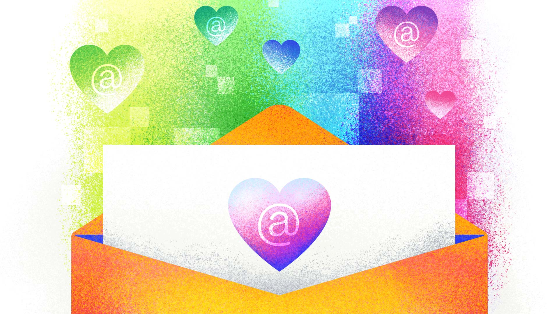A large envelope is open, with a letter coming out of it. On the letter is a colorful heart with the @ symbol on it. Behind the envelope floats a rainbow of smaller hearts with @ email symbols.