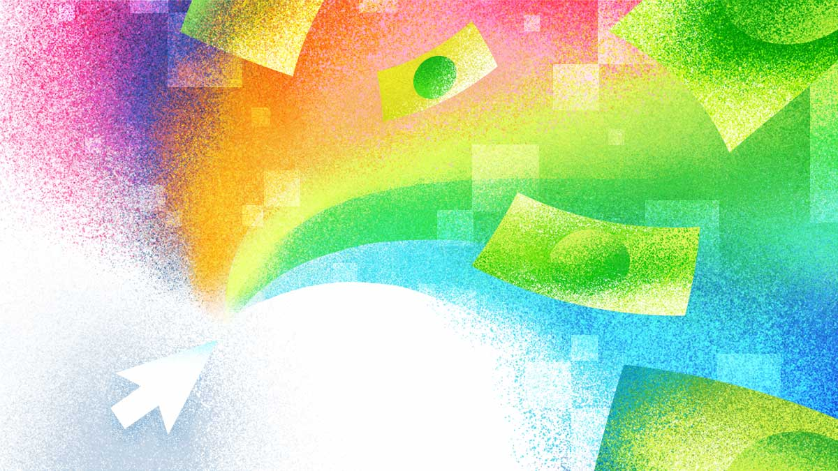 A burst of color explodes from a mouse cursor. Within the colorful pixels are dollar bills floating out of the frame.