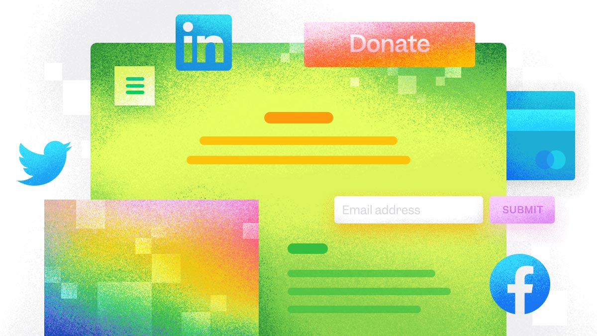 All the elements of a great nonprofit website homepage are layered together— a donation button, social media icons, a credit card for accepting online donations, and an email newsletter sign-up field.