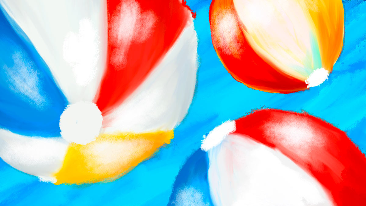 A painting of three beach balls in red, blue, and yellow.
