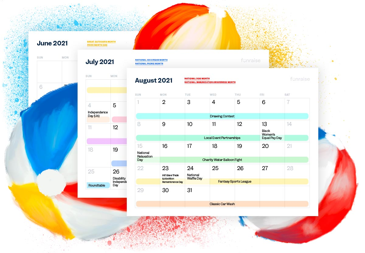 Download a printable PDF of the Summer Fundraising Ideas Calendar