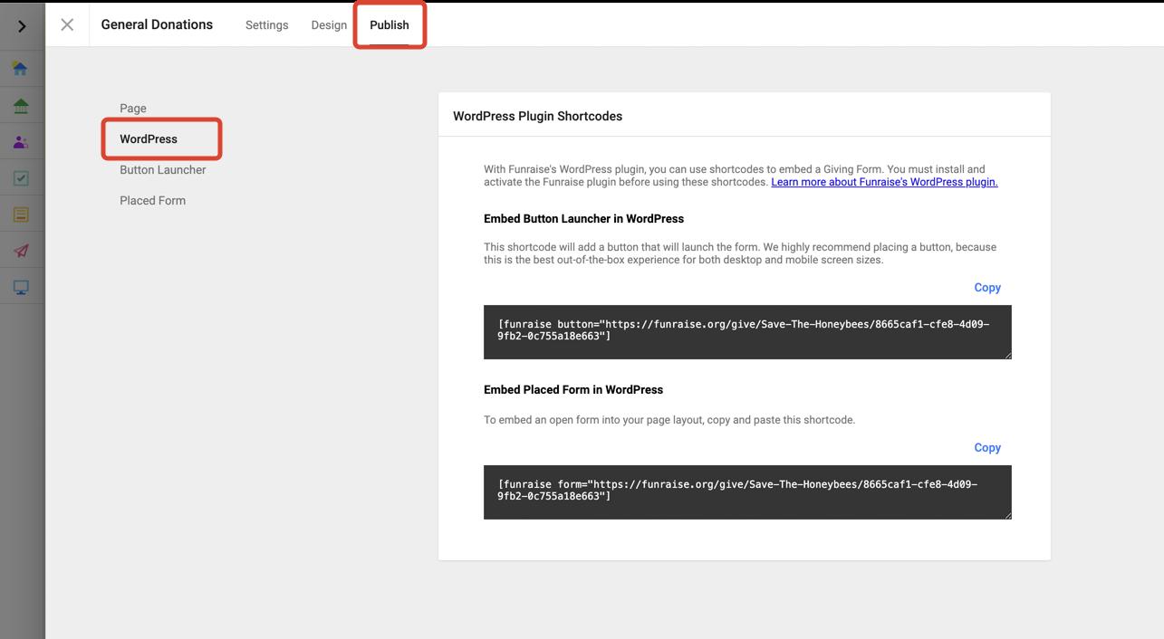 Screenshot of Funraise's platform with WordPress plugin shortcodes.