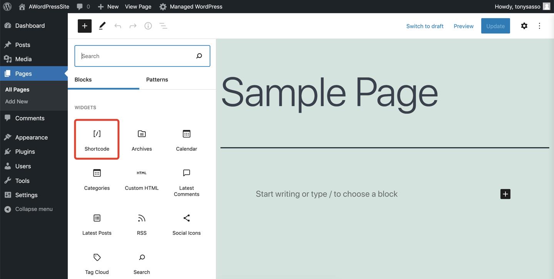 Screenshot of WordPress sample page focused on shortcodes.
