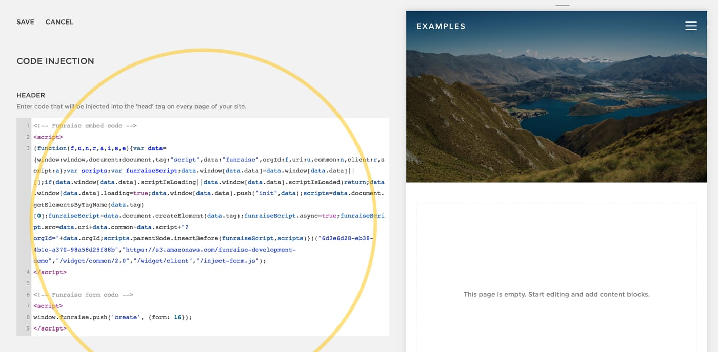 Screenshot of Squarespace's Code Injection field.