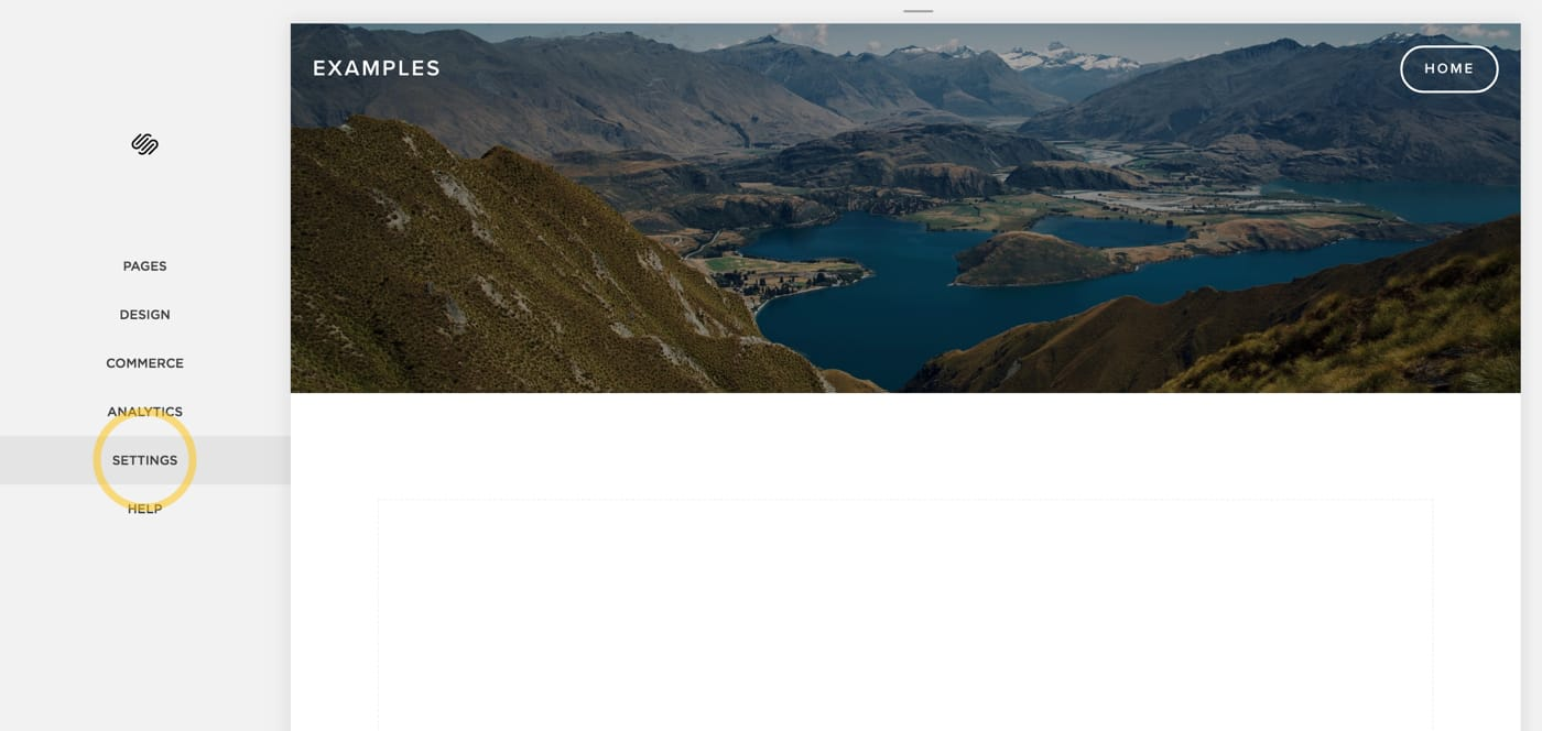 Screenshot of a Squarespace settings page.