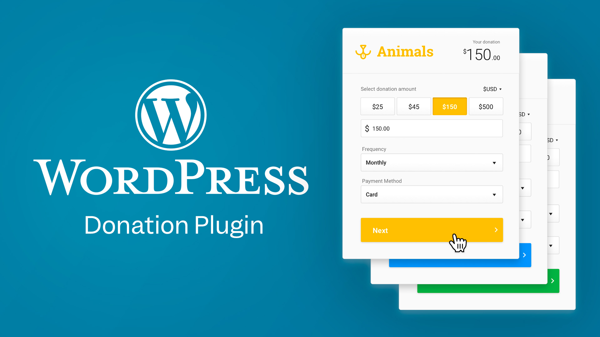WordPress Donation Plugin—The WordPress logo next to a stack of Funraise donation forms, customized for different donation asks.
