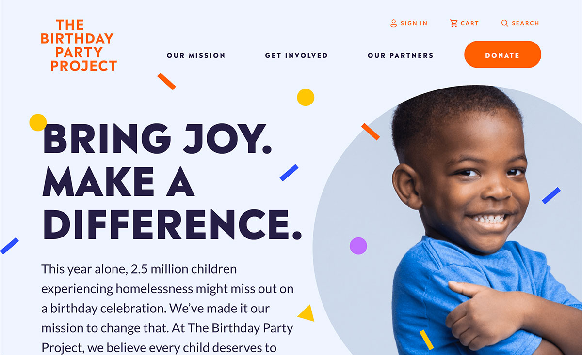 The Birthday Party Project's website homepage includes a creative and effective fundraising ask.