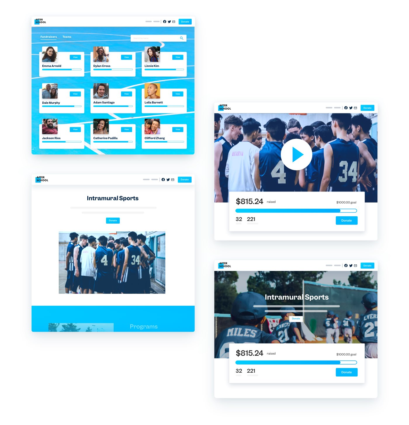 Peer-to-peer fundraising page for a fictional nonprofit named After School. On a blue background, there are nine team sections, each with a headshot.