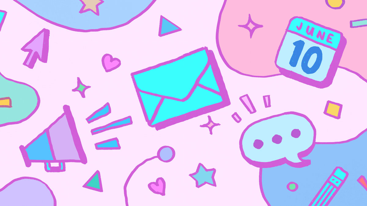 A peppy pink background is filled with speech-and-writing-related icons in bright pastels: an envelope, a bullhorn, a speech bubble, a calendar, a pencil. And, just for bonus sweetener, there are small hearts, stars triangles, and diamonds filling the empty space between the larger icons.