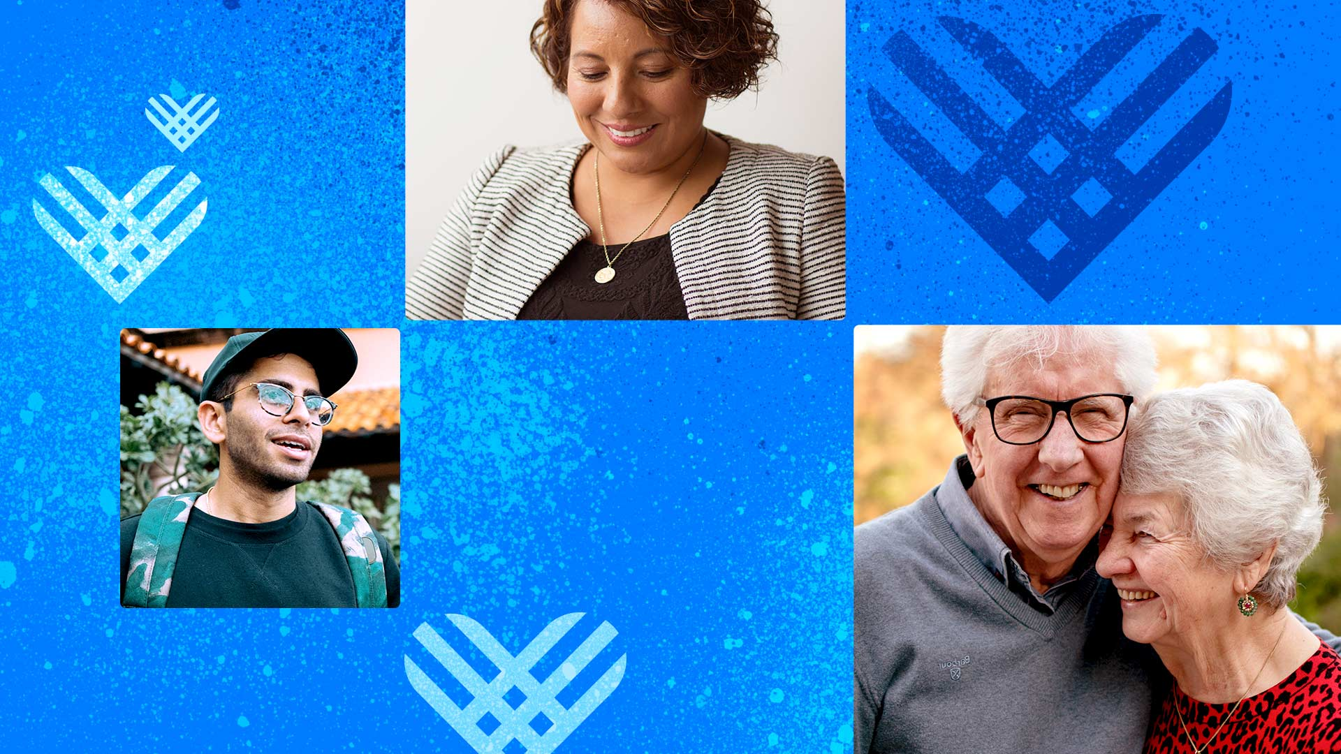 Giving Tuesday hearts surround profile photos of happy peer-to-peer fundraisers. Their photos are adjacent, showing how P2P connects one donor to another to grow your support.