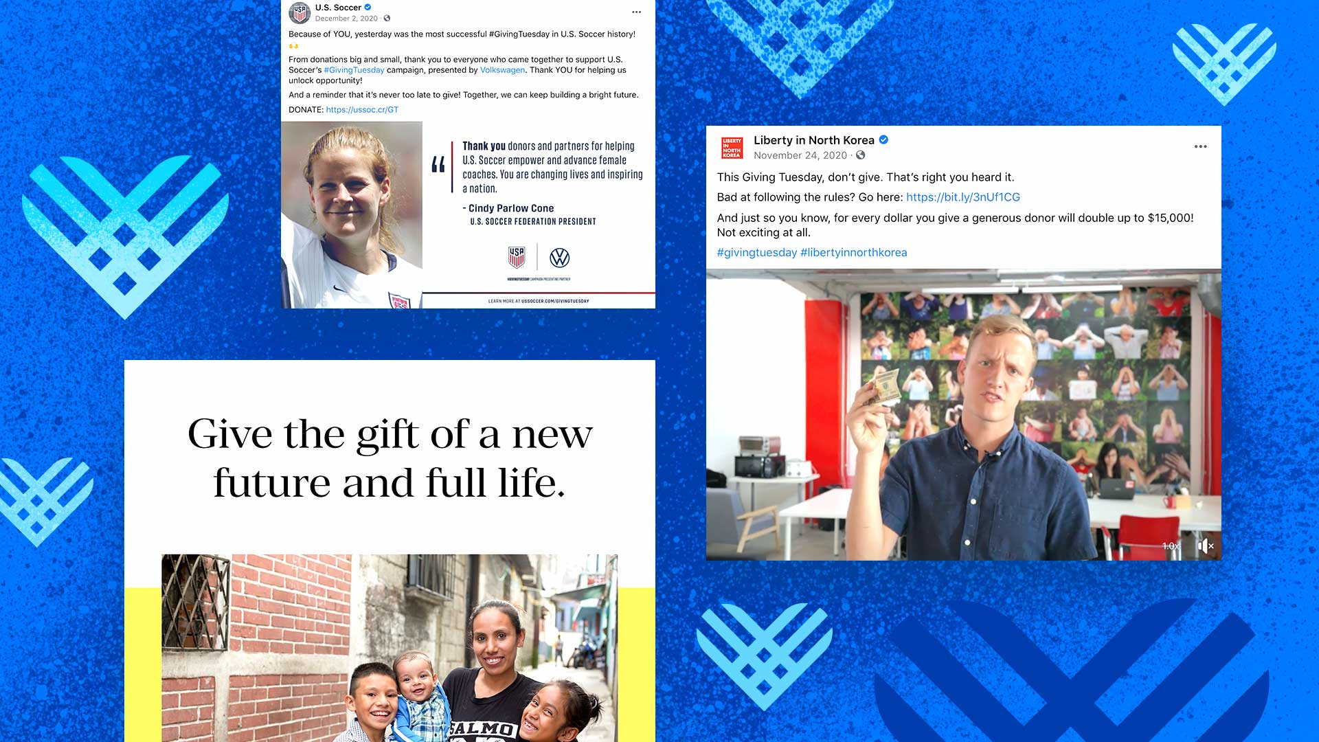 Various examples of social media posts for Giving Tuesday float around Giving Tuesday hearts.