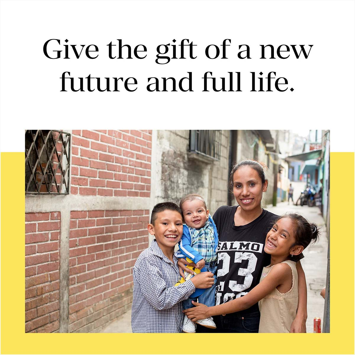 """A Facebook post from Lemonade International. A happy family is smiling. Above them text reads """"Give the gift of a new future and full life."""""""