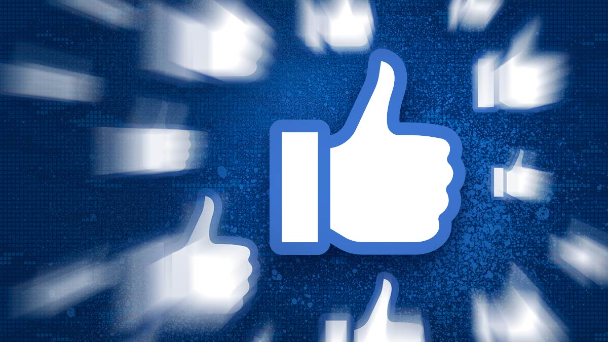 A large thumbs-up icon is surrounded by lots of other thumbs speeding through the air. It's a big, bold Facebook strategy.