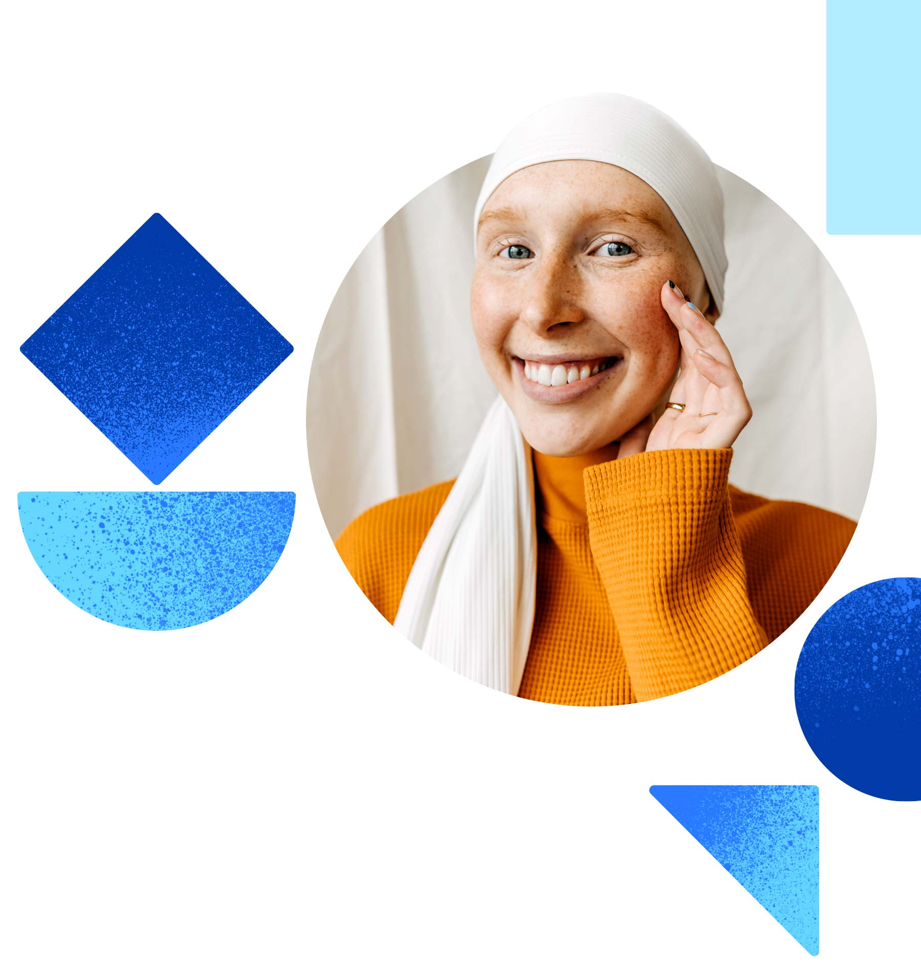 A woman wearing a head wrap smiles at us. She looks hopeful in the midst of cancer treatment.