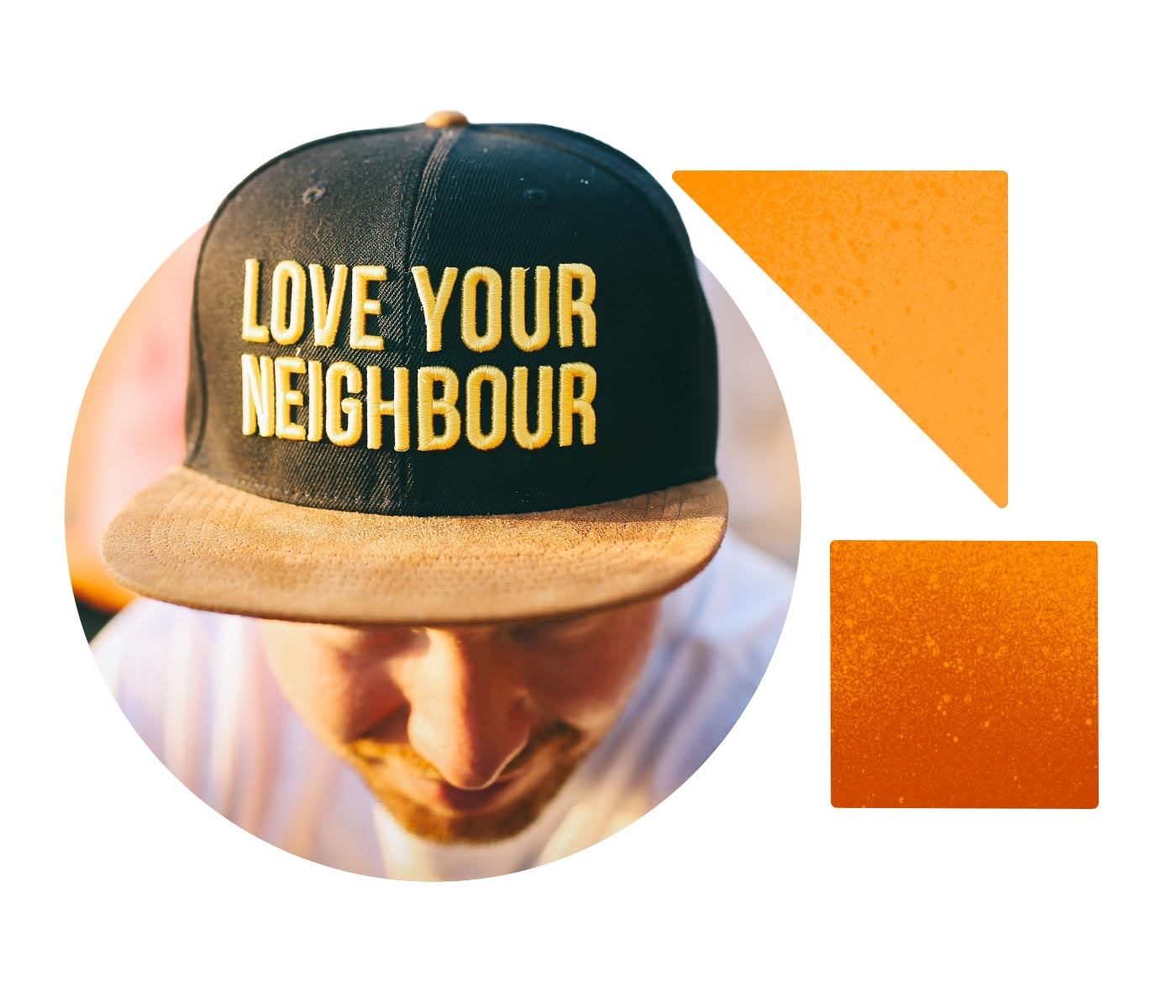 A man leans forward to show the letters on his baseball cap that read LOVE YOUR NEIGHBOUR.