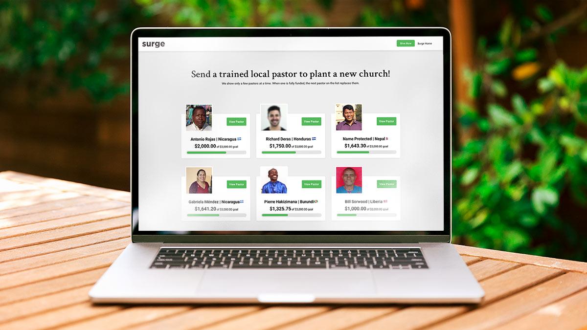 Surge Project's Plant A Pastor program uses Funraise Campaign Sites.