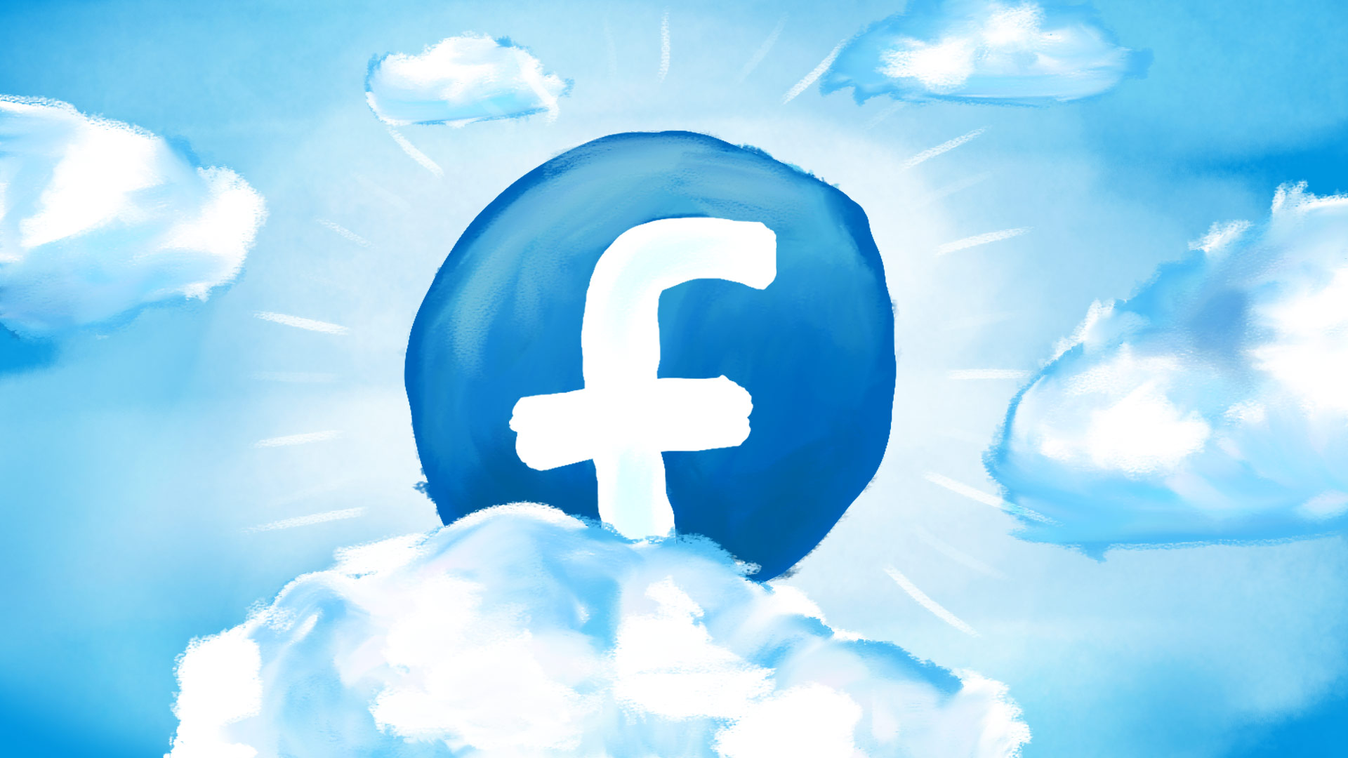 A gigantic Facebook logo breaks through fluffy painted clouds in a majestic light-filled burst! It's Facebook Fundraising! And a divinely simple template to lead the way!