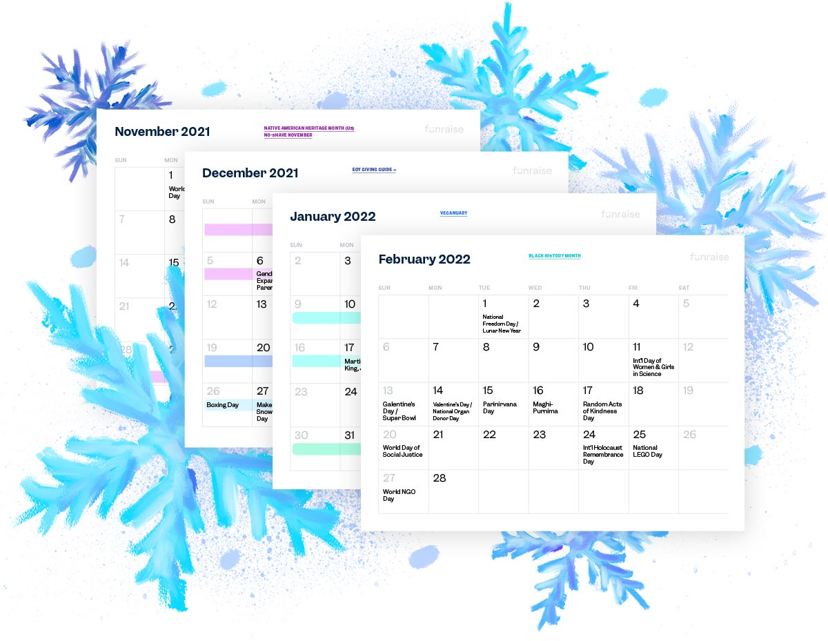 Download Funraise's Winter 2021–2022 Fundraising Calendar