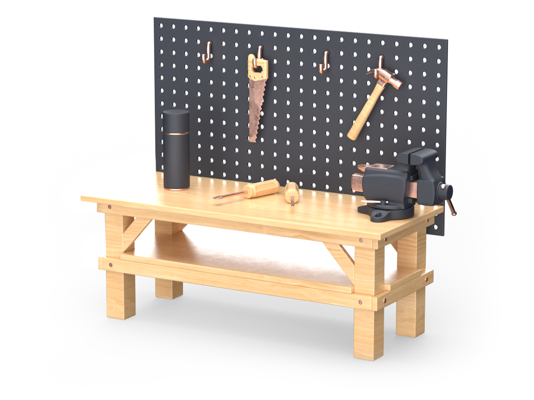 3D render of a workbench and tools