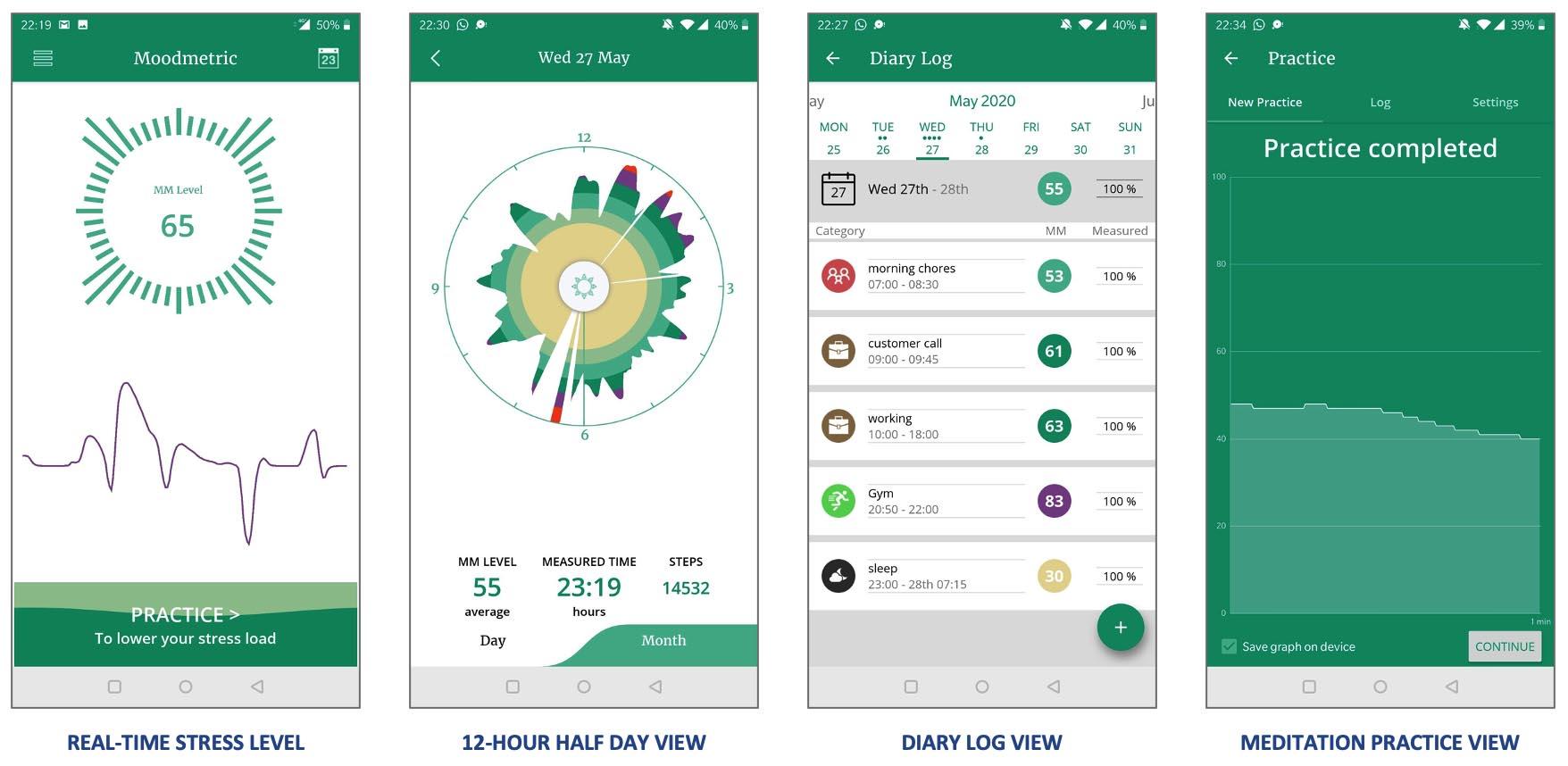 Moodmetric app screenshots