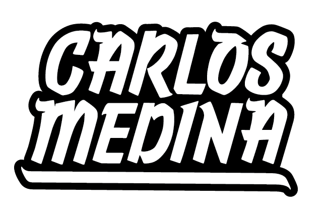Carlos Medina logo in black and white