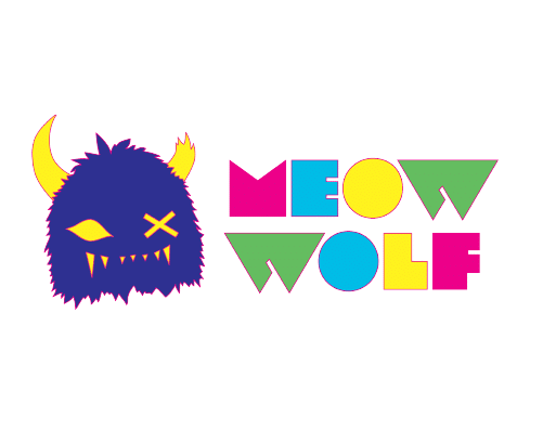colorful Meow Wolf logo with Snaggy head to the left