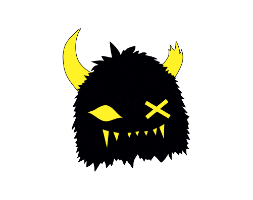 "Snaggy in black with yellow eye on left and ""x"" in place of an eye on the right"