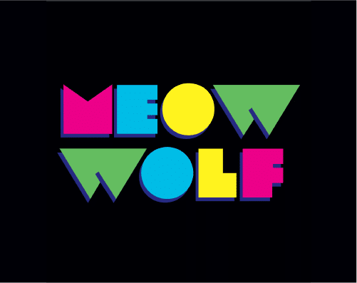 colorful Meow Wolf logo on black background