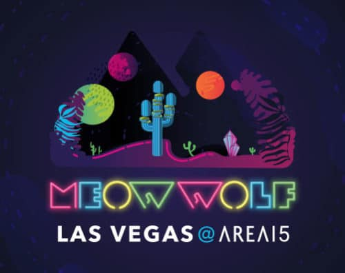 "colorful Meow Wolf logo in neon lights with the words ""Las Vegas"" under and desert cactus scene above"