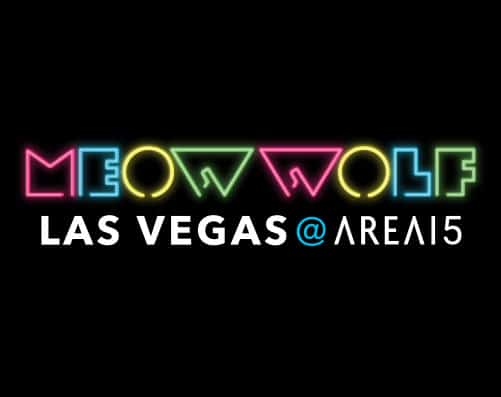 "colorful Meow Wolf logo in neon lights with the words ""Las Vegas"" under"
