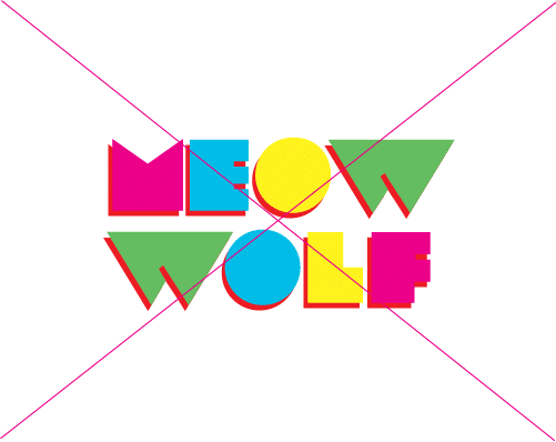 colorful Meow Wolf logo with white background