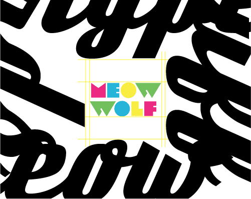 colorful Meow Wolf logo on white background with black swirls around the edge of frame