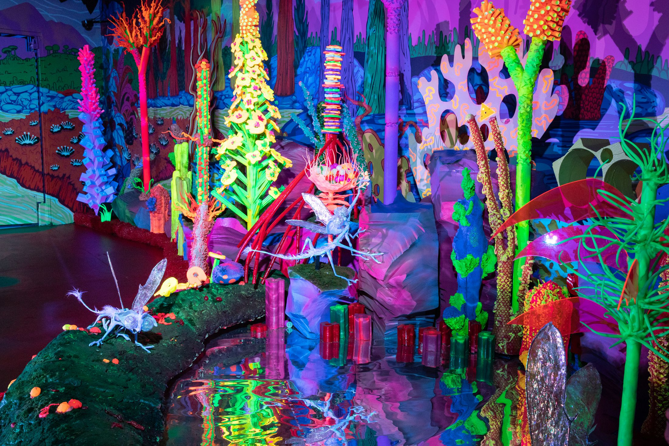 electric neon forest full of trees