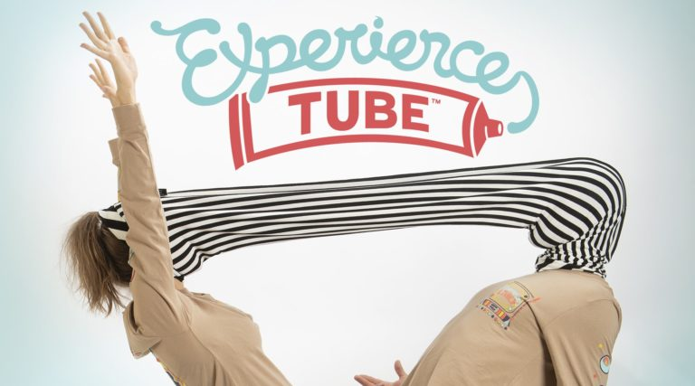 Experience Tube logo with one person on either end of the tube