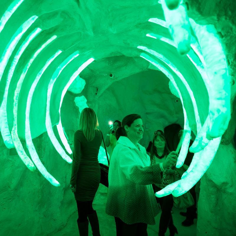 people in giant neon rib cage at Meow Wolf Santa Fe