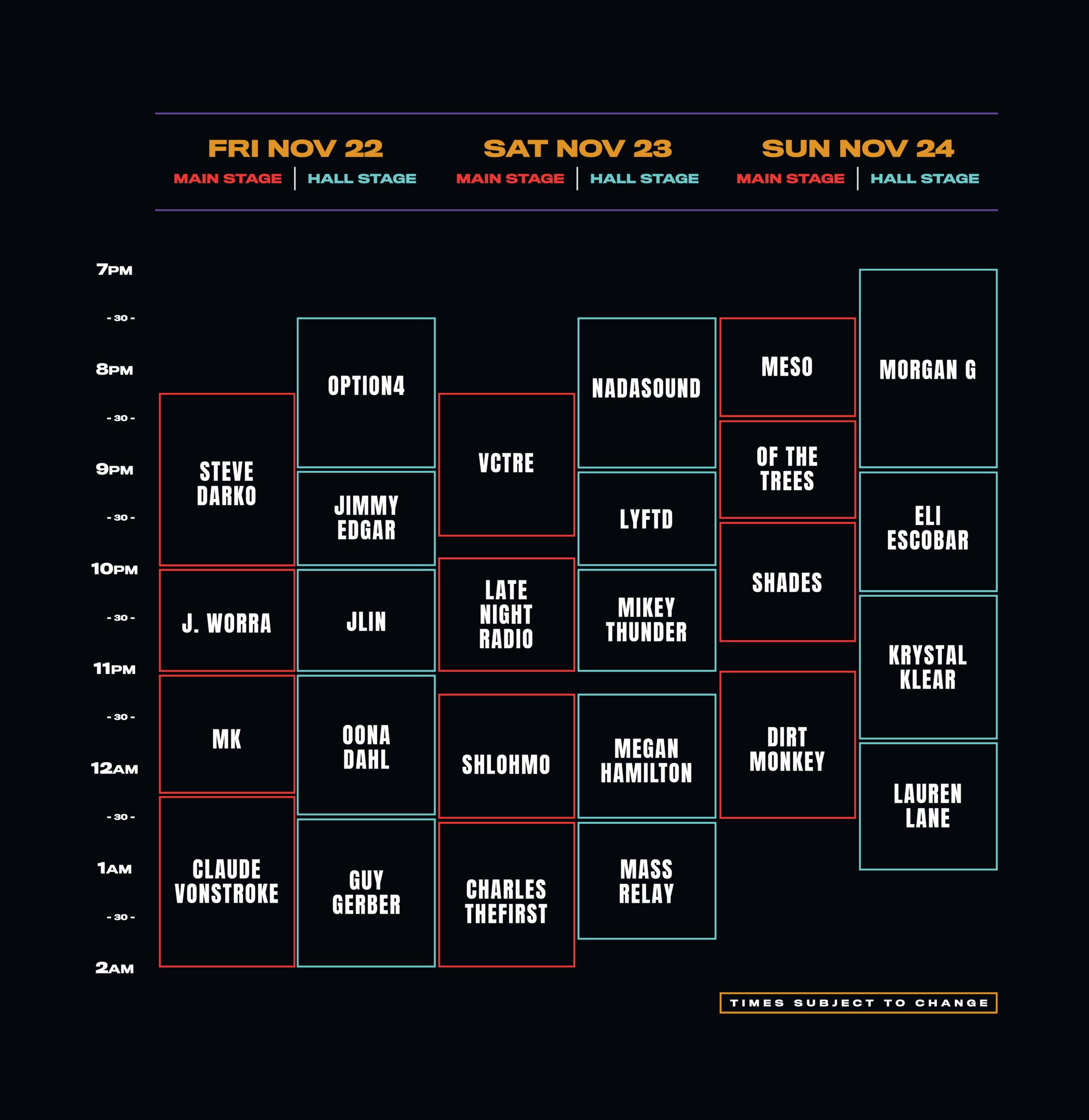 Dark Palace Shedule, Full lineup