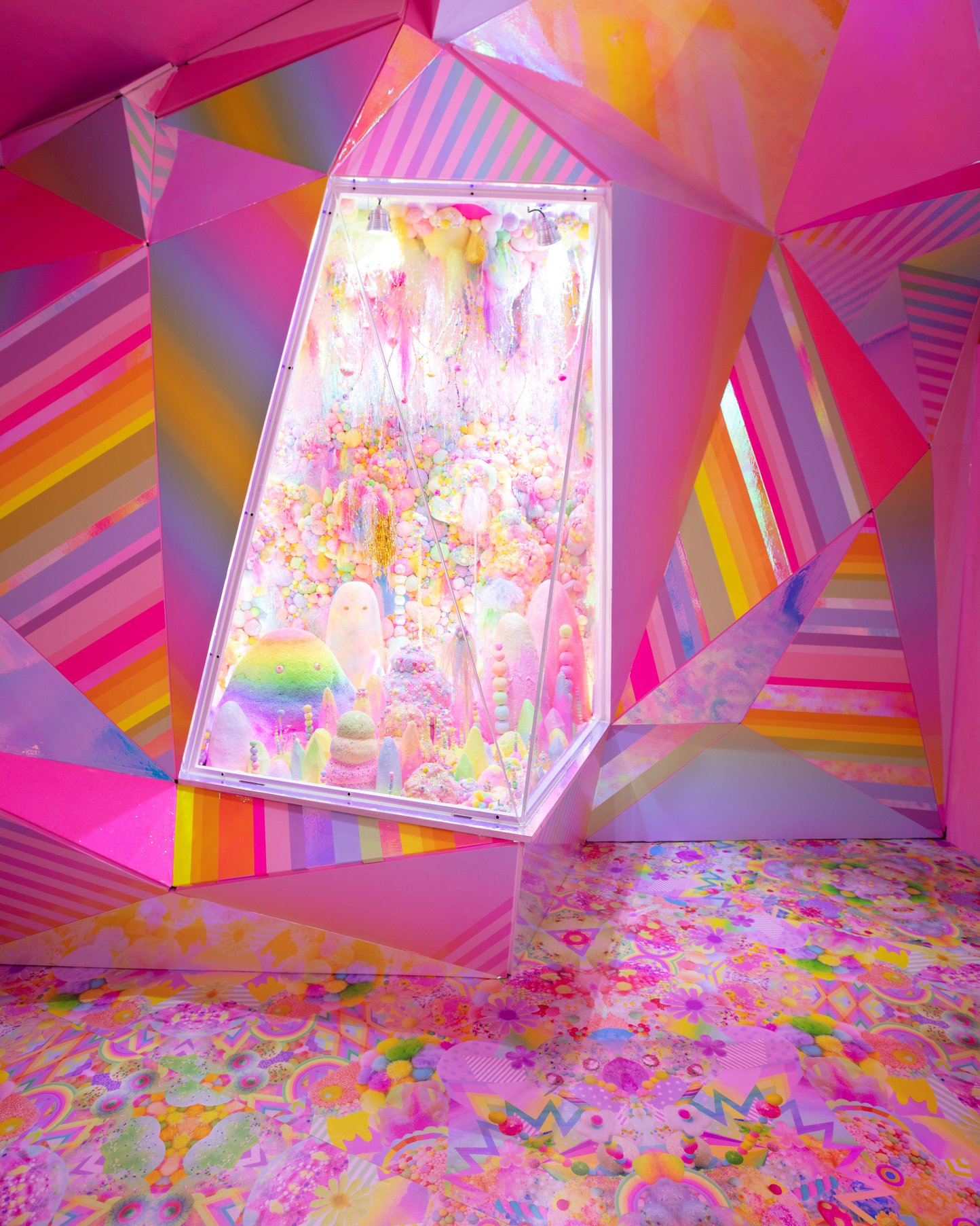 bright pink room at Meow Wolf in Santa Fe, NM