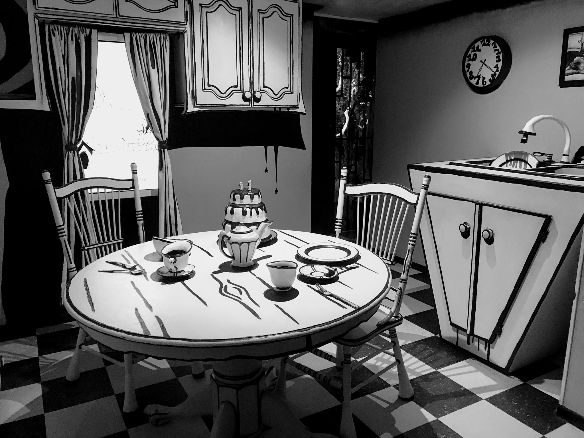 1950s style kitchen in black and white